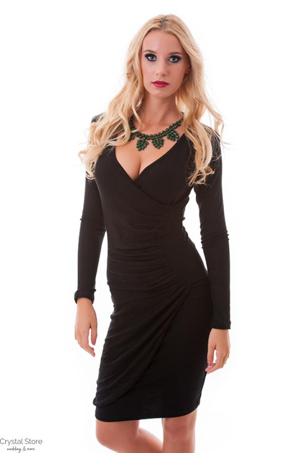 Húzott derekú ruha fekete+