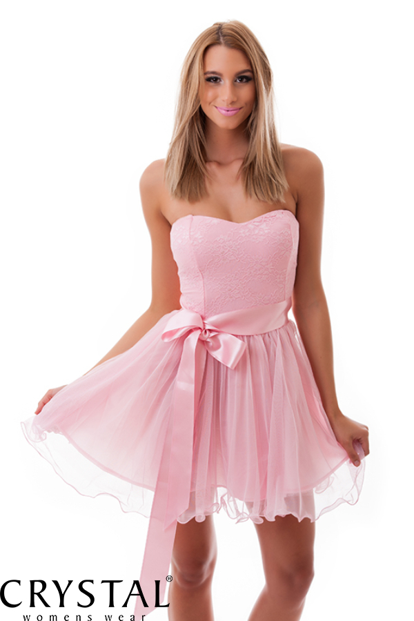 Tüllös szatén szalagos koktélruha rózsaszín