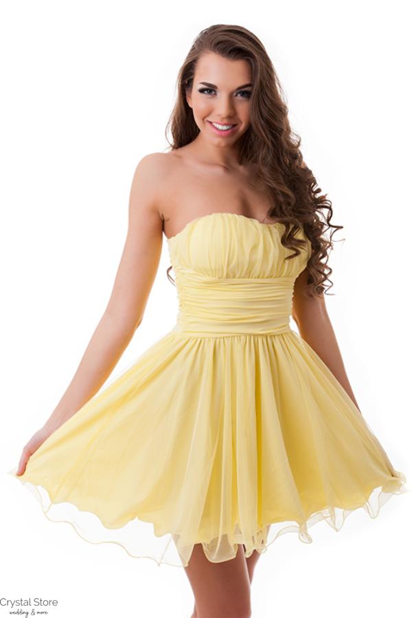 Pánt nélküli A-vonalú koktélruha sárga