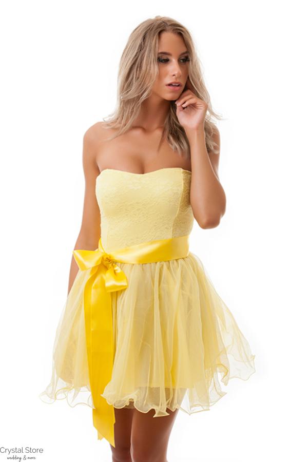 Tüllös szatén szalagos koktélruha sárga