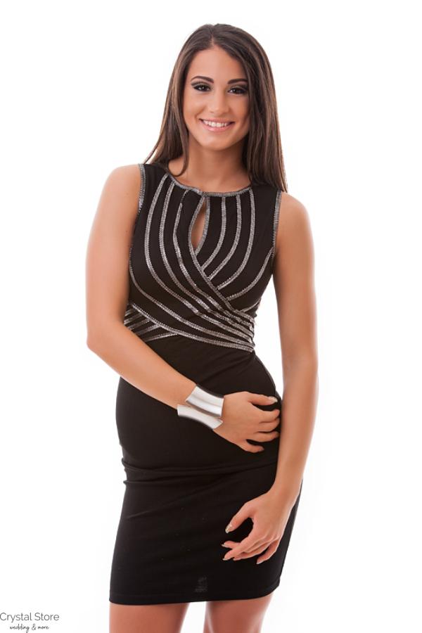 1b13b084cf Ujjatlan tekert elejű neccbetétes ruha, fekete-ezüst S
