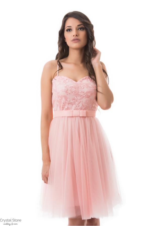 464eccedf7 Barokk mintás, tüllös koktélruha, rózsaszín