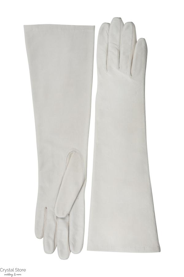 hosszú fehér bőrkesztyű