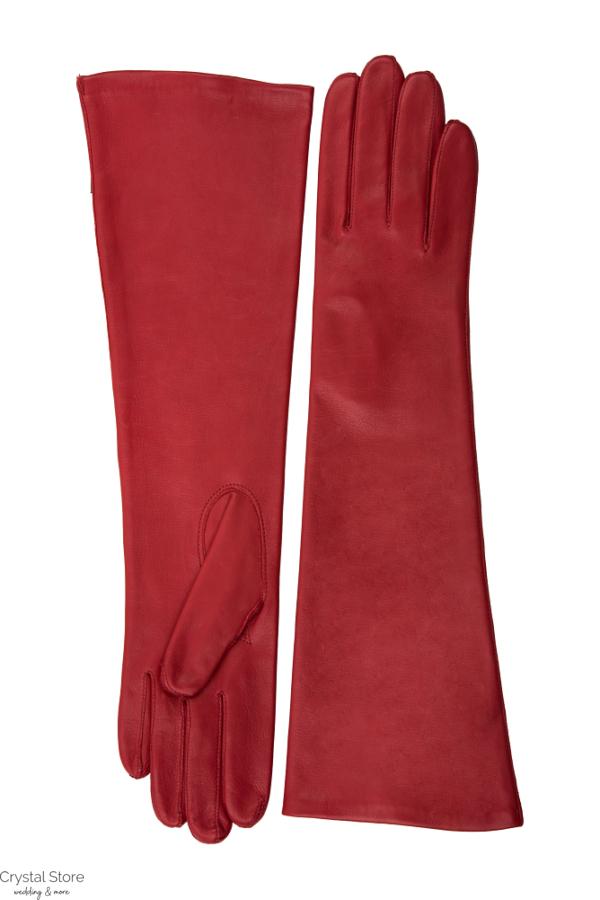 hosszú piros bőrkesztyű