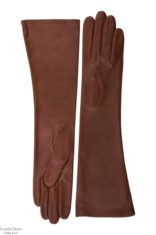hosszú barna bőrkesztyű