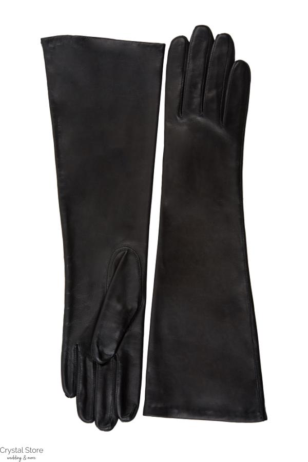 fekete bőrkesztyű hosszú