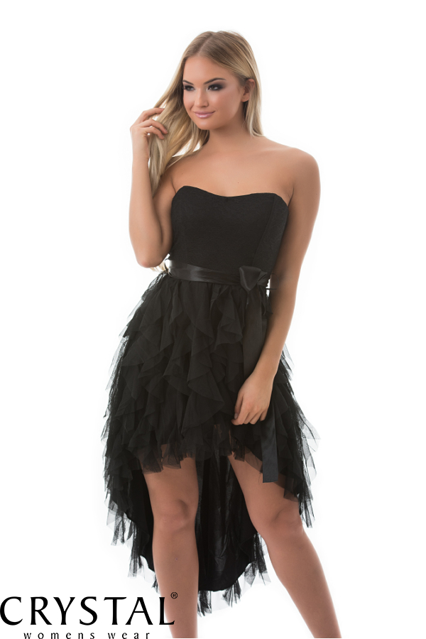 6f14c6ca93 Aszimmetrikus, szatén szalagos ruha, fekete M