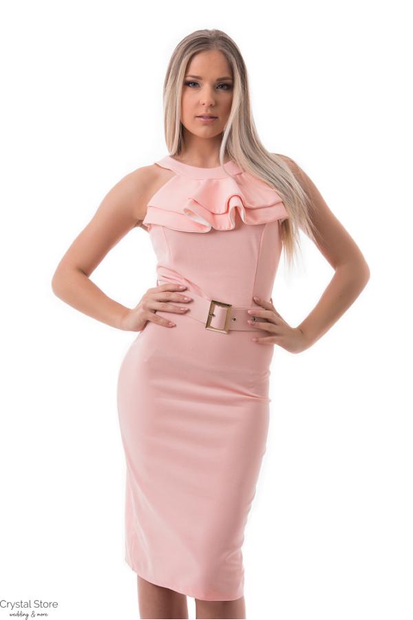 bd35da94c Zsabós alkalmi ruha övvel, rózsaszín