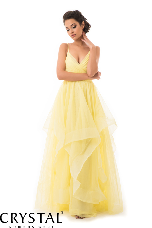 Cakkos romantikus extra tüll maxiruha sárga M
