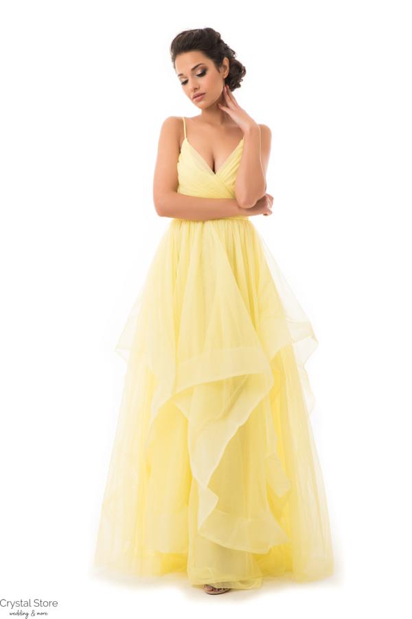 Cakkos romantikus extra tüll maxiruha sárga L