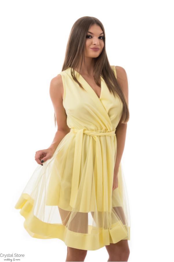 Átlapolt simple alkalmi ruha, sárga