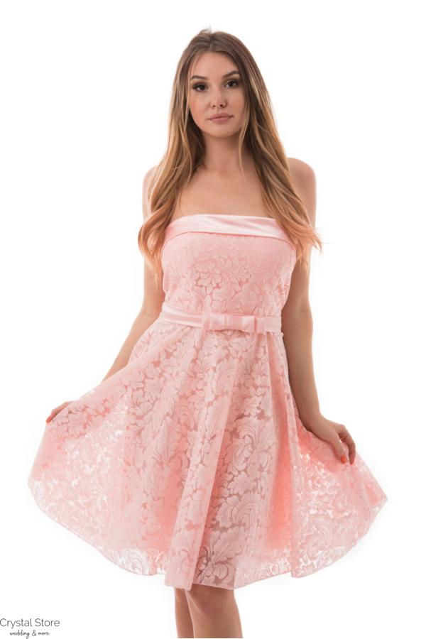 Barokk mintás, selyem rátétes koktélruha, rózsaszín