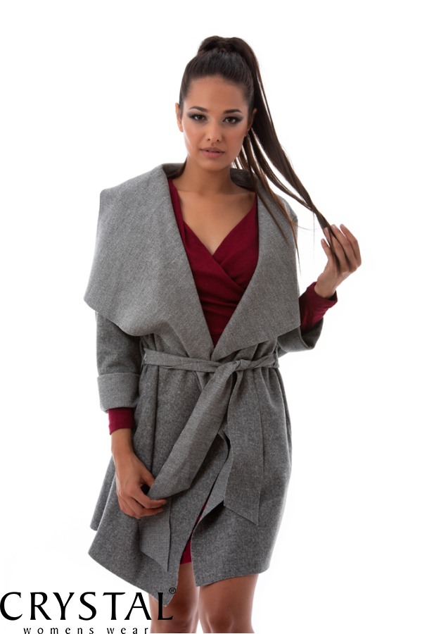 Szövethatású átmeneti kabát, szürke