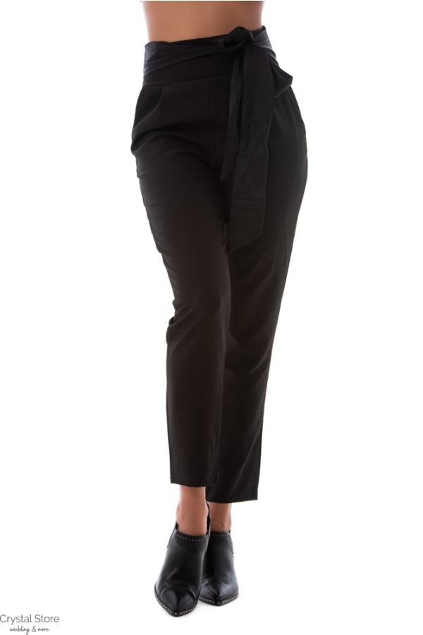 Magasított derekú alkalmi nadrág fekete