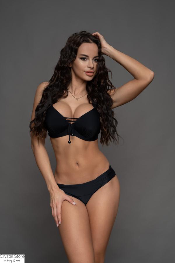 Pyramid kosár hatású fűzős bikini, visszahajtós alsóval, fekete, D-E kosár