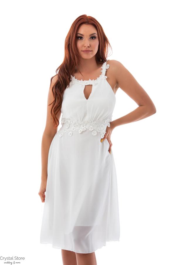 Muszlin koktélruha, fehér