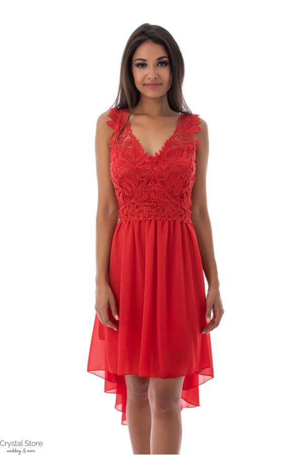 Charm muszlin koktélruha aszimmetrikus szoknyarésszel, piros