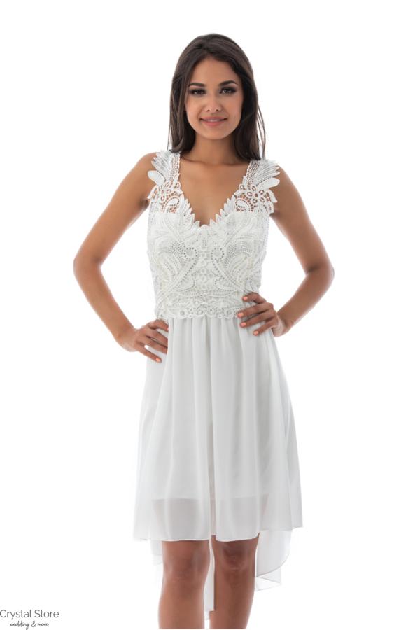 Charm muszlin koktélruha aszimmetrikus szoknyarésszel, fehér