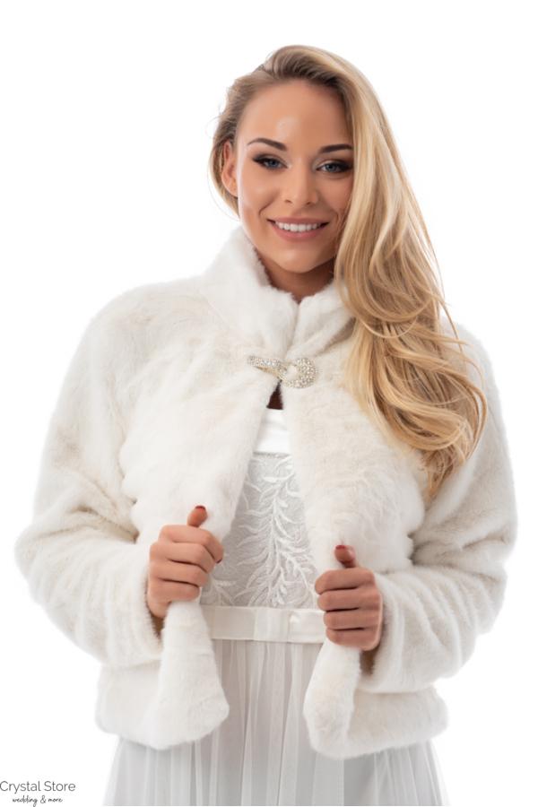 Puha szőrme kabátka, fehér
