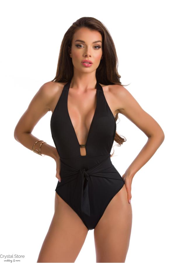 Paloma háromszöges trikini, derékban húzott, fekete 301