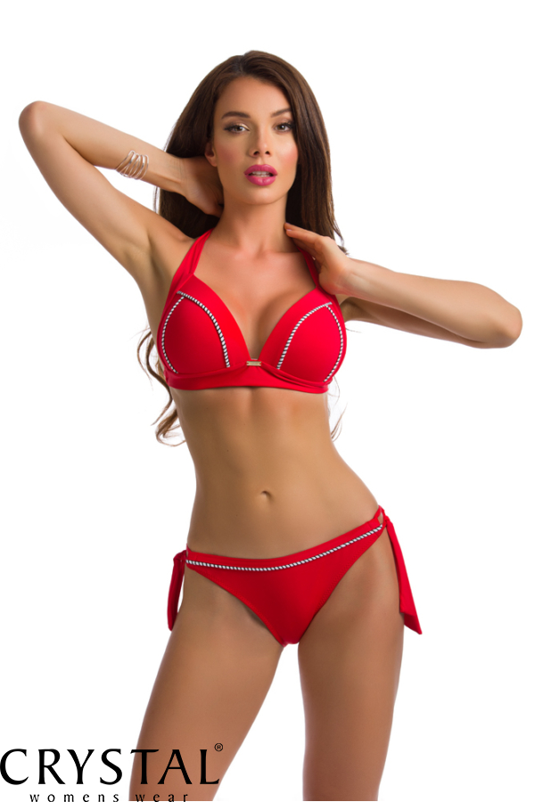 Paloma push-up háromszög bikini, sodort dekorral, fekete 410